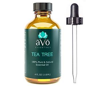 aVo Tea Tree Essential Oil for Toenail Fungus and Dandruff Treatment - 4 Ounce