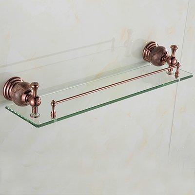 Yomiokla Bathroom Accessories - Bathroom Metal Towel Ring European-Style Rose Gold Jade Built-in Shelf Toilet admitted to Set Item Rose Gold Lady Yuk-Single-Storey Glass Racks