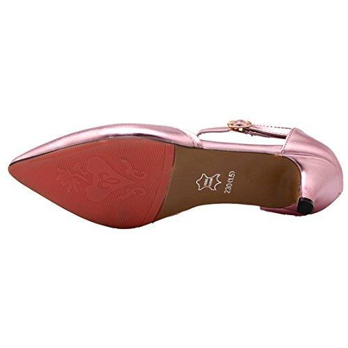Aiyoumei Femmes Bout Pointu Chaton Talon Cheville Sangle Printemps Automne Pompes Chaussures Rose
