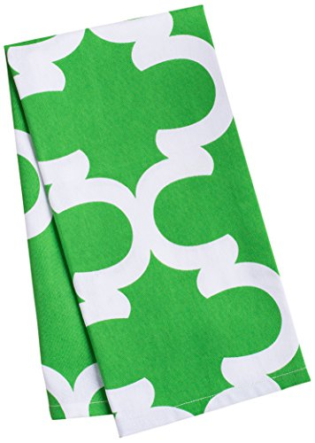 LinenTablecloth Green and White Trellis Kitchen Towels, 2-Pack by LinenTablecloth