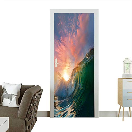 (Door Sticker Wall Decals Beautiful Ocean Surfing Shorebreak Wave at Sunset time Easy to Peel and Stick W38.5 x H77 INCH)