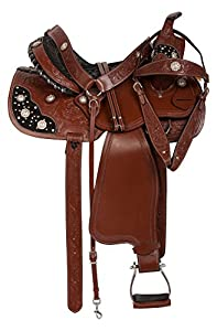"""14"""" 15"""" 16"""" Brown Hand Carved Western Crystal Barrel Racing Show Trail Horse Saddle Tack Premium Leather"""