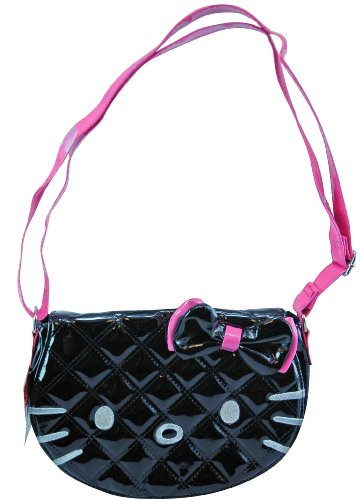 Blk Patent Leather Bag (Hello Kitty Cross Black Patent Leather Body Purse)