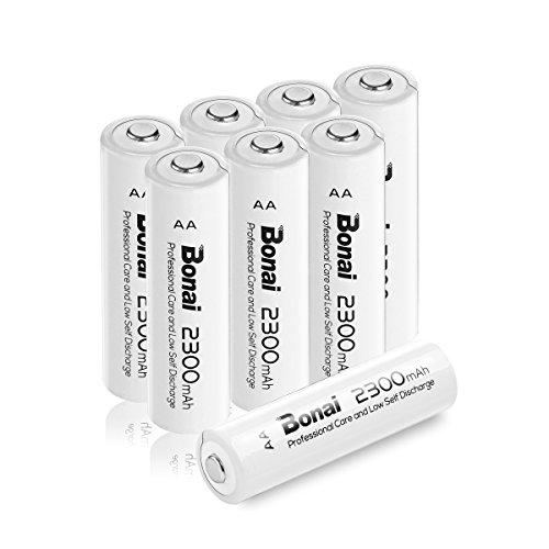BONAI 8 Pack 2300mAh 1.2V AA Ni-MH High Capacity Rechargeable Batteries - UL Certificate