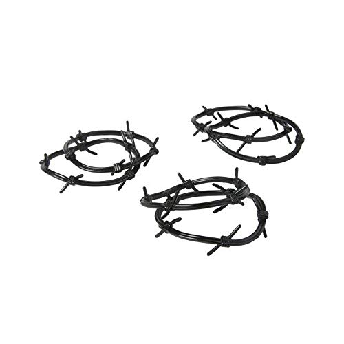 Western Barbed Wire Plastic Bracelets Cowboy Cowgirl Black Wristband Costume Party Supplies - 12 Piece Set]()