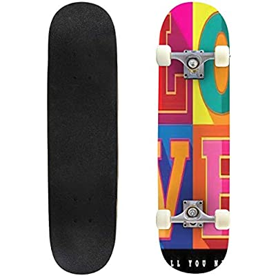 Classic Concave Skateboard Love is All You Need Flat Design pop Art Poster EPS 10 Vector Longboard Maple Deck Extreme Sports and Outdoors Double Kick Trick for Beginners and Professionals : Sports & Outdoors