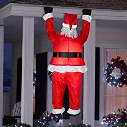 Gemmy Airblown Inflatable Realistic Santa Hanging from...