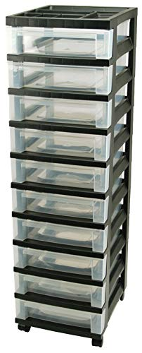 IRIS USA, Inc. Medium 10-Drawer Cart with Organizer Top, Black (Rainbow 8 Drawer Rolling Chest By Recollections)
