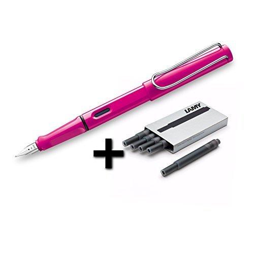 Lamy Safari Fountain Pen (13F) Pink + 5 Black Ink Cartridges
