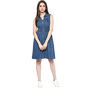 StyleStone (3113ZipDress) Women's Denim Knee Length Zip Dress with Smocked Waistline
