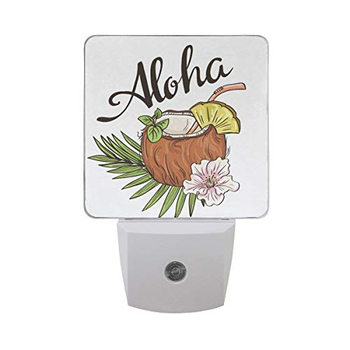 xiaodengyeluwd Plug-in LED Night Light Lamp Tropic Coconut Aloha Printing with Dusk to Dawn Sensor for Bedroom, Bathroom, Hallway, Stairways, 0.5W-2 Pack -