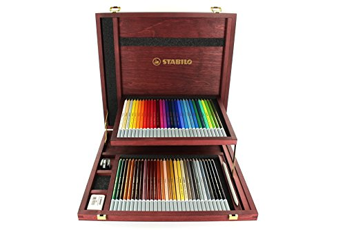 Carb Othello Pastel Pencil Set- 60 Pencils in a Wood Box by Stabilo