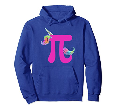 Unisex Happy Pi Day 2018 Funny Unicorn Math Hoodie For Girls Medium Royal Blue (Pi Math Kids Hoodie)