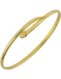 14k Yellow Gold 2.8 mm Snake Bypass Cuff Bangle Bracelet