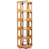 5-Tier Bookcase Bamboo Bookshelf Revolving Multipurpose Shelf Organizer Modern Decorative Collection Bookcase with 5 Adjustable Shelves Storage & Organizer Cabinet
