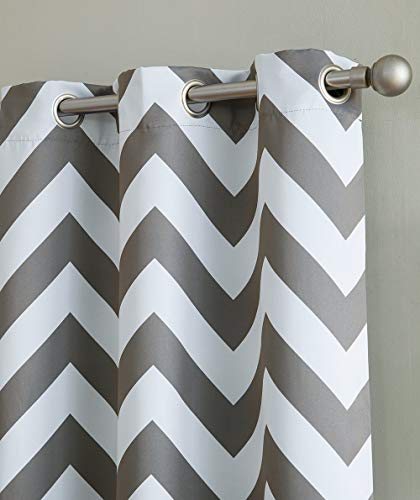 HLC.ME Chevron Print Thermal Insulated Room Darkening Blackout Window Curtain Panels for Bedroom - Set of 2-37