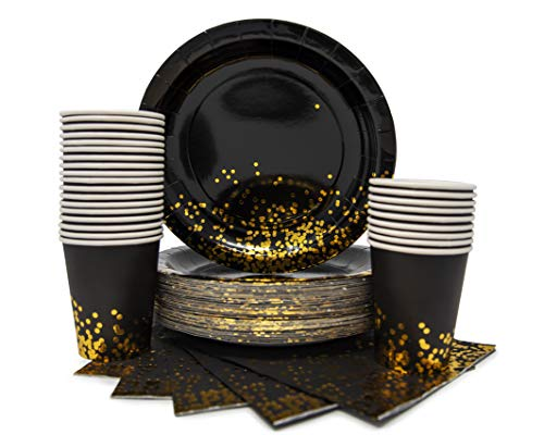 Party Chic Gold Dot Disposable Paper Plates Cups and Napkins Set for 20; Gold Foil 20 Dinner Plates 20 9 oz Cups and 20 Dinner Napkins for Party Wedding Holiday Anniversary Birthday Bachelor Shower]()