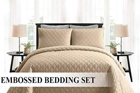 3 Piece Cotton Quilted Bedspread Bed Throw Comforter Set /& 2 Pillow Shams CBS