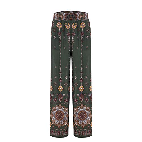 Women's Summer Wide Leg Elastic High Waist Printed Boho Hippie Palazzo Pants Plus Size (L, Olive National Floral)