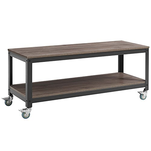 Modway Vivify Industrial Modern Tiered Serving Or TV Stand With Locking Casters -