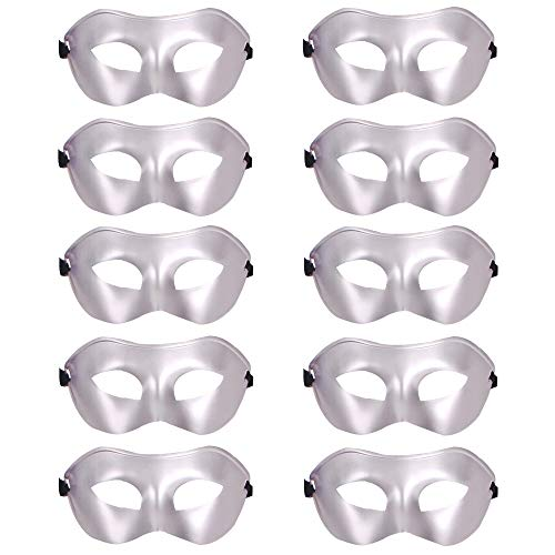 10 Pcs Unisex Retro Masquerade Mask Face Mask Venetian Mask for Fancy Dress Costume Halloween Party(Silver) ()