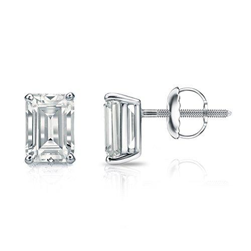 (Diamond Wish 14k White Gold Emerald-Cut Diamond Stud Earrings (2 carat TW, O.White, SI1-SI2, IGI Certified) 4-Prong Basket, Screw-Back)