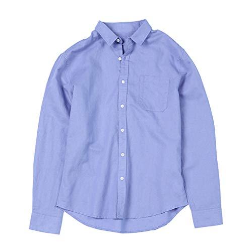 iYBUIA Men's Cotton Linen Shirts - ☀ Summer Solid Color Button Lapel Beach Thin Light Long Sleeve T-Shirt Blouses Blue