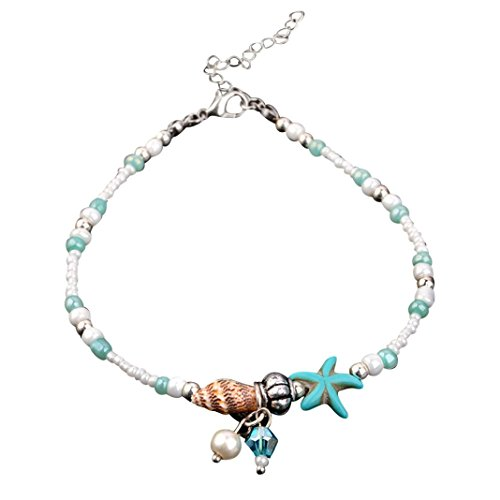 Auwer Starfish Shell Beach Foot Chain Conch Sandal Anklets Beads Bracelet Jewelry (Beige)