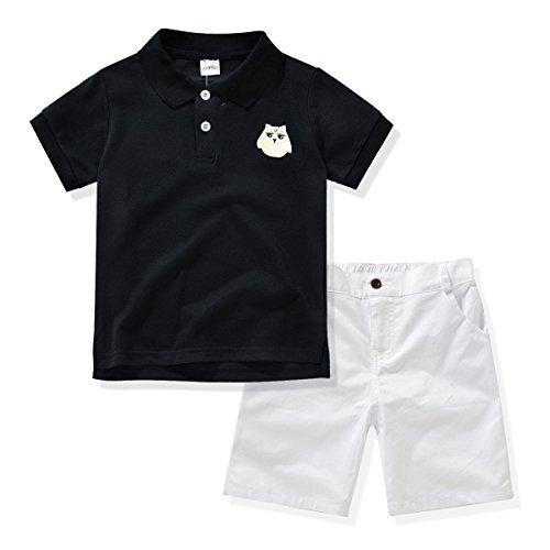 Miniowl Little Boys 2pcs Shorts Set Polo T-Shirt with Elastic Waistband Shorts