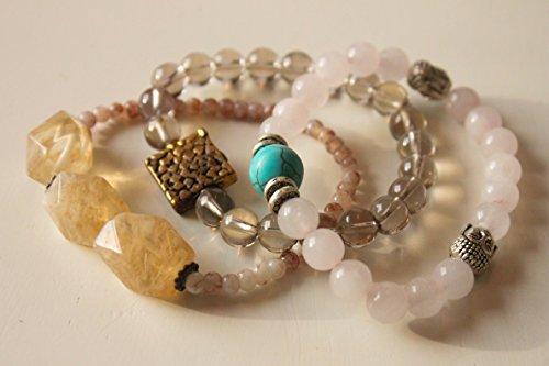 Steffi Love - Rose quartz, yellow and smoky quartz three set bracelet. (3 Yellow Love Roses)