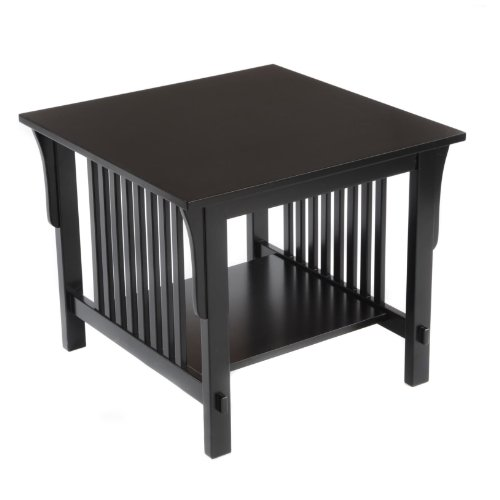 Glass Mission End Table (Bay Shore Collection Bay Shore Collection Mission End Table, Espresso)