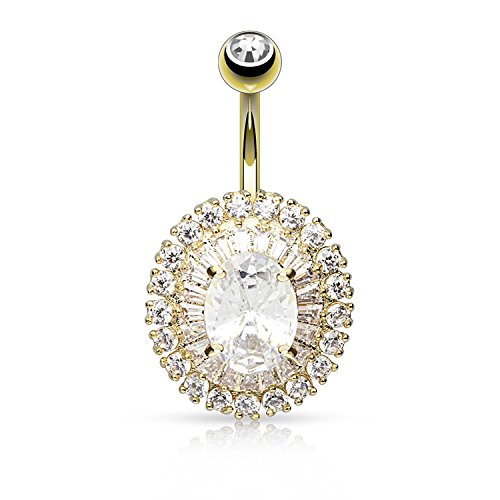 Covet Jewelry 3-Tier Paved CZ Dandelion with Oval CZ Center Navel Ring (Gold/Clear)