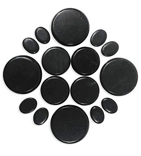 Onyx 6 Hot Stones Massage Set 16 Pieces with Pouch for Foot Massage and Body Massage Natural Lava Rock Basalt Stone for Professional or at-Home Use B079K9VFS9 ()