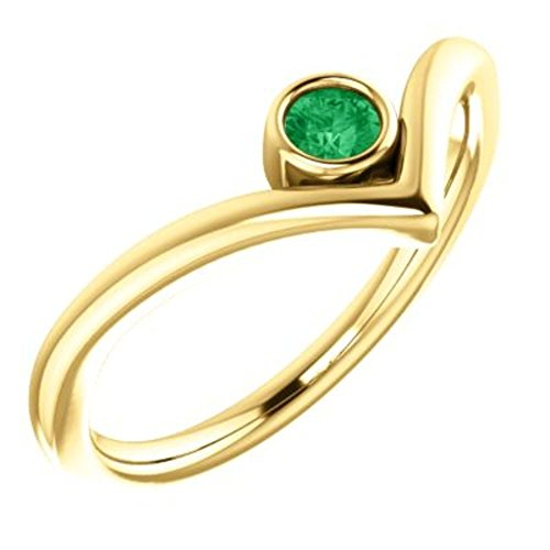 14K Yellow Chatham Created Emerald Solitaire Bezel Set