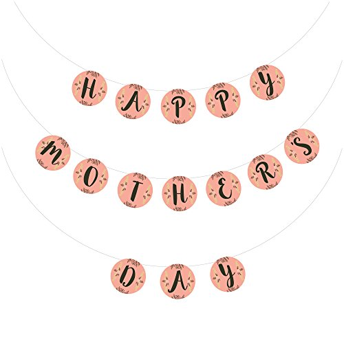 """Mother's Day Decorations - Peach Color With Floral Design Banners - Round Panels - With """"Happy Mother's Day"""" Print - Unique & Playful Design - Celebrate -"""