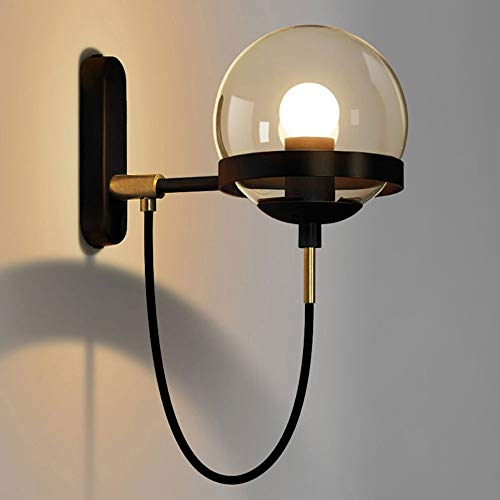 TheMonday American Retro Metal Ring Wall Lamp Fixture Creative Personality Clear Glass Ball Shade Wall Sconce Light E27 Edison Wall Lighting for Hotel Restaurant Cafe Stage (Color : Black)
