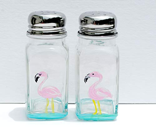 Pink Flamingo Glass Hand Painted Salt & Pepper Shaker Set, Nautical Kitchen Decor