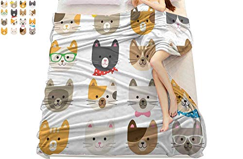 smallbeefly Pikachu Blanket Animals,Cats Costume with Glasses and Bow Tie Bandana Cartoon Artwork Craft Pattern Print, Soft Bed Blanket 90