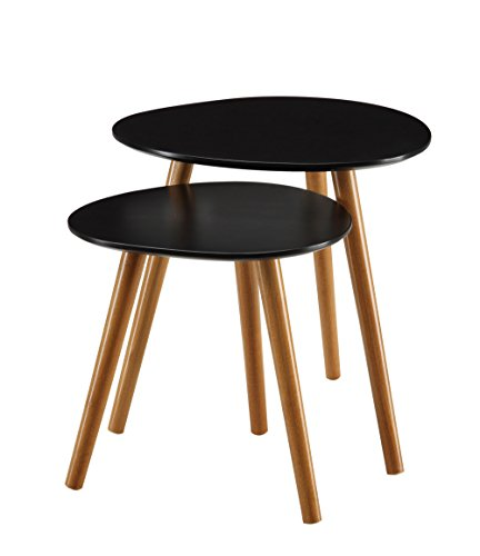 Convenience Concepts 203542BL Oslo End Table, Black Natural