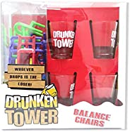 Drunken Tower Drinking Game 18 Pieces Chairs and 4 Shot Glasses Set, Stacking Balancing Game for Party