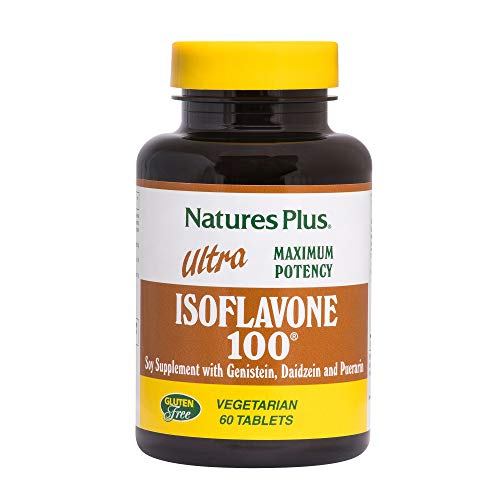 Natures Plus Ultra Isoflavone 100-100 mg, 60 Vegetarian Tablets - Soy Supplement, Menopause Symptom Relief, Naturally Reduces Hot Flashes - Gluten Free - 30 -