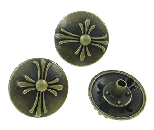 10Sets Antique Brass Round Celtic Cross Rivet Leather Concho RV087 - Fancy Concho