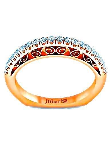 Rose Gold Diamond Wedding Band 0.32 Ctw Euro Shank Anniversary Ring 14K Custom Filigree Hand Made Designer Fine Jewelry ()