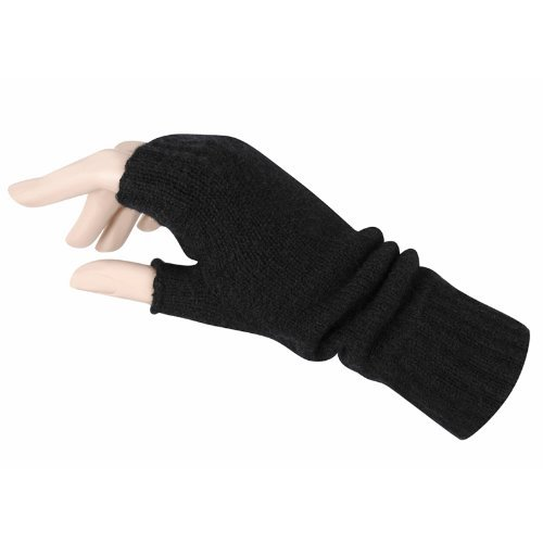 Women's Fingerless Mitts Pure Cashmere Made in Scotland (Black)