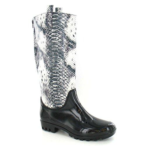 Spot Op Womens / Ladies Snakeskin Textile Upper Wellington Boots Black Leopard