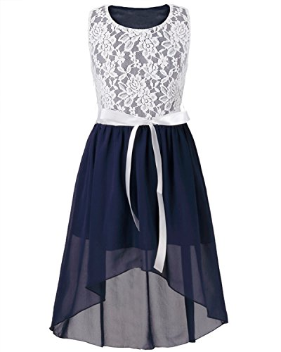 FEESHOW Kids Big Girls Lace Flower High Low Chiffon Bridesmaid Dress Dance Party Navy Blue 12