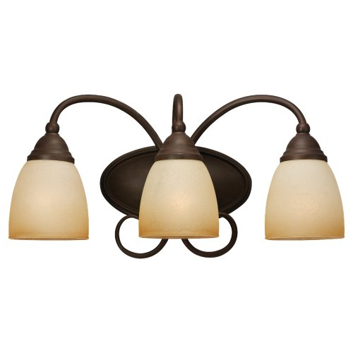 Sea Gull Lighting 44106-72 Monteclaire Collection Three-Light Vanity, Olde Iron Finish with Amber Scavo Glass