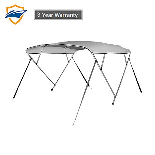Seamander 3-4 Bow Bimini Top Boat Cover 4 Straps for Front and Rear Includes with Mounting Hardware (Light Grey, 4 Bow 8'L x 54