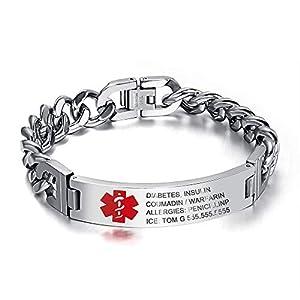 Grand Made 8,5 pulgadas gratis pulsera de grabado de emergencia médica para hombres ID Wrap for Adult Awake Bracelet… 18