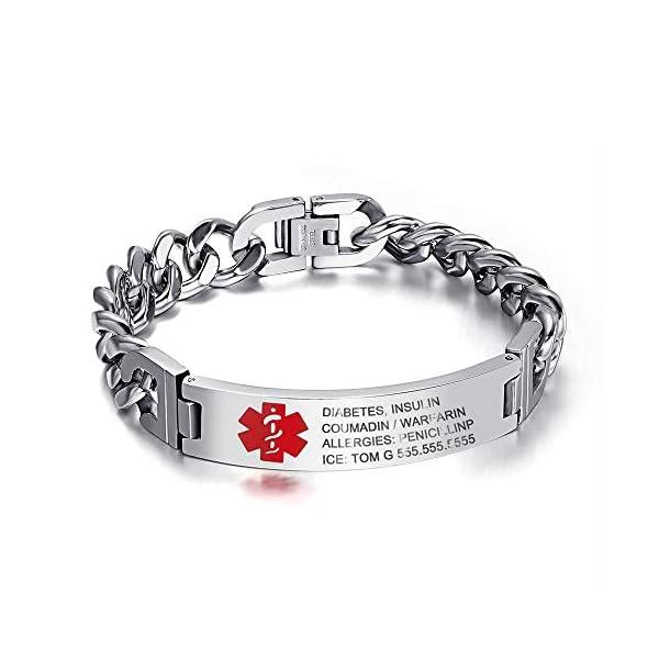 Grand Made 8,5 pulgadas gratis pulsera de grabado de emergencia médica para hombres ID Wrap for Adult Awake Bracelet Titanium Steel Medical Medical pulsera para mujeres 1